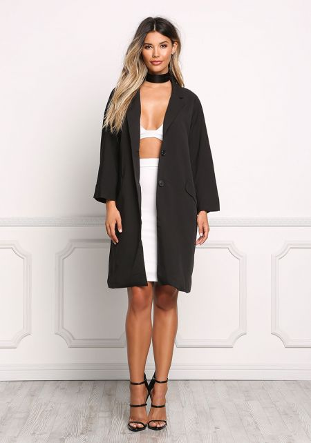 Black Minimalist Trench Coat