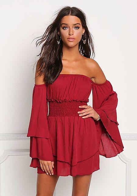 Wine Crepe Off Shoulder Layered Smocked Dress