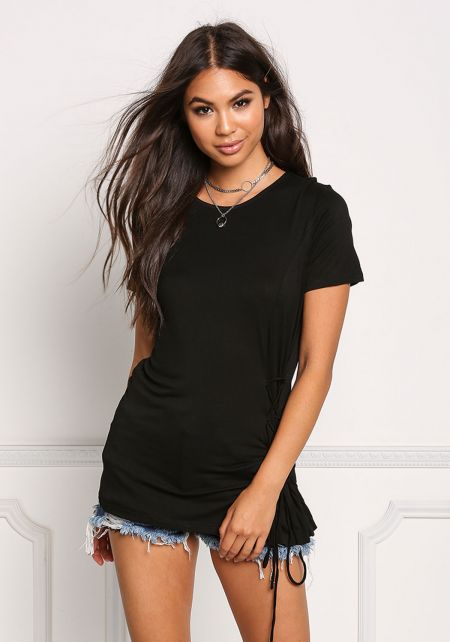 Black Side Lace Up Knit Tee