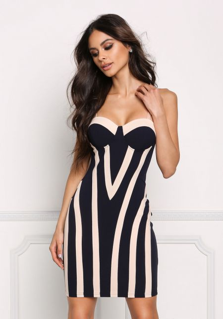 Navy Two Tone Bustier Bodycon Dress