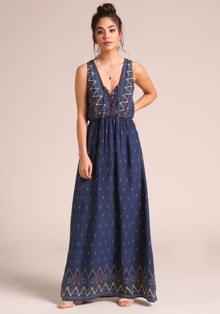 Navy Paisley Lace Up Maxi Dress