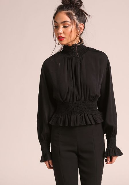 Black Smocked Puff Sleeve Blouse