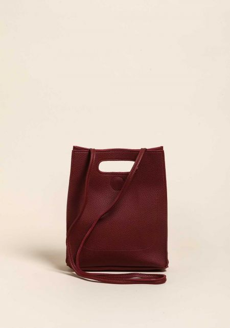 Burgundy Faux Leather Tote Bag with Pouch