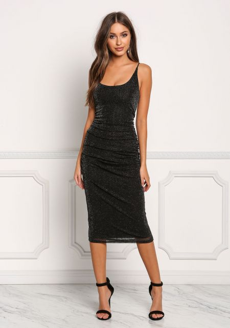 Black Ruched Shimmer Bodycon Dress