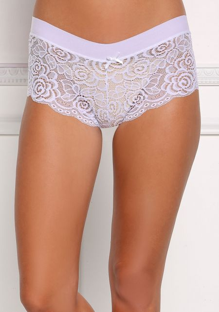 White Floral Lace Brief Panties