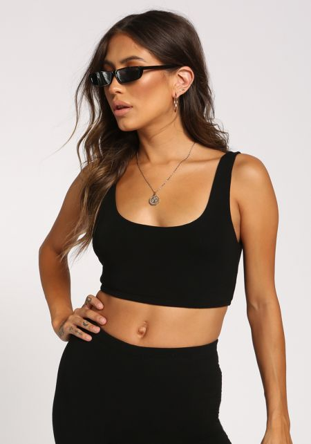 Black Scoop Tank Crop Top