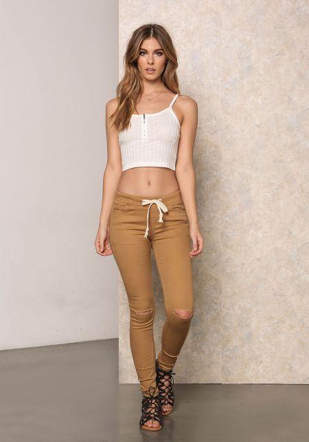 Camel Low Rise Drawstring Knee Slit Jeans