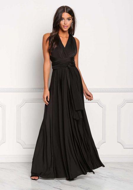 Black Slinky Sheen Magic Tie Maxi Gown