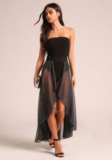 Black Sparkle Open Hi-Lo Maxi Skirt