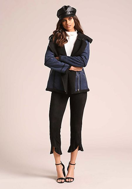 Black Suedette Ruffle Cropped Pants