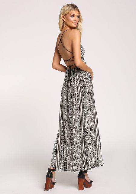 Black Back Cross Strap Tribal Print Maxi Dress
