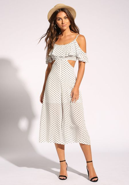White Polka Dot Cut Out Cropped Jumpsuit