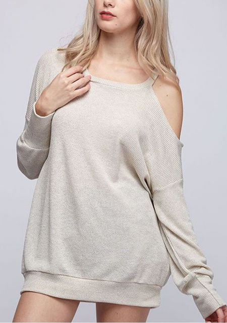 Oatmeal Shoulder Cut Out Sweater Top