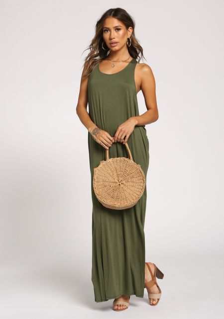 Olive Side Scoop Slit Maxi Dress