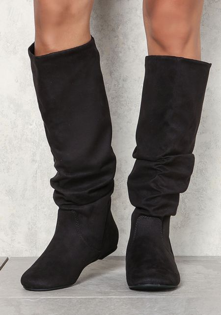Black Suedette Ruched Knee High Boots