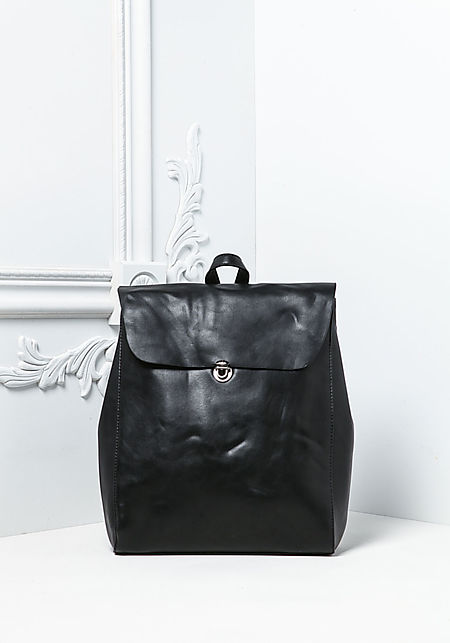 Black Leatherette Messenger Backpack