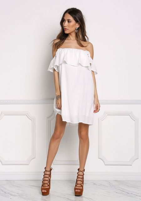 Off White Ruffle Layered Shift Dress