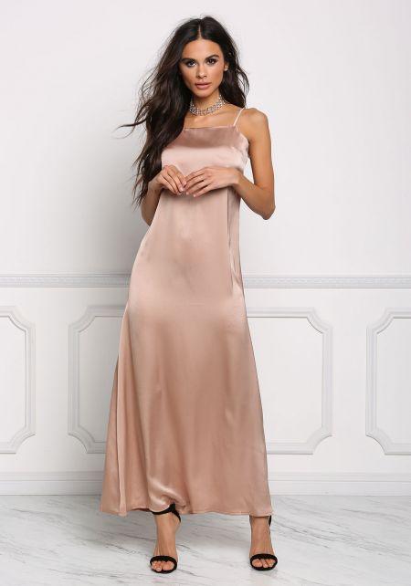 Champagne Satin Low Back Slip Maxi Dress