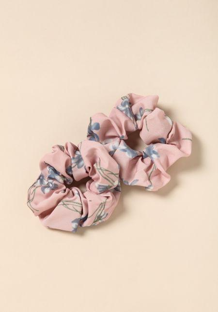 Pink Floral Scrunchie Set