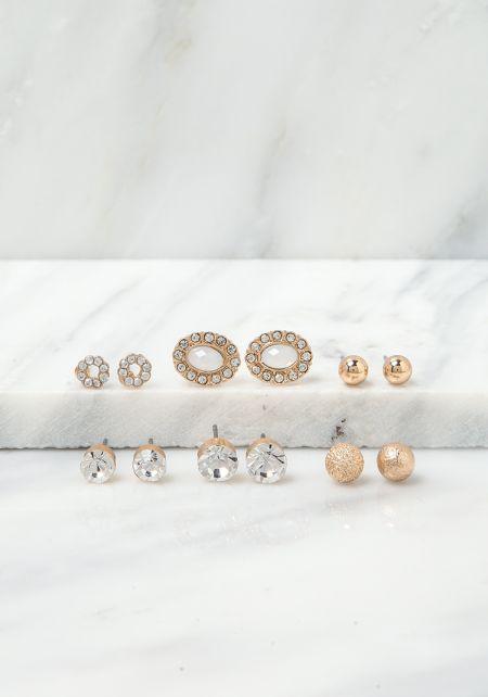 Gold Assorted Dainty Rhinestone Earrings Set