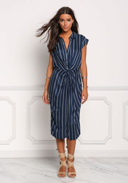 Navy Pinstripe Twisted Button Down Shift Dress