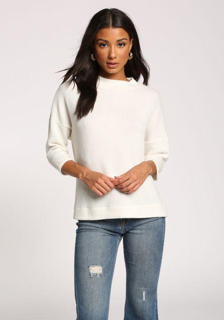 Ivory Mock Neck Sweater Top