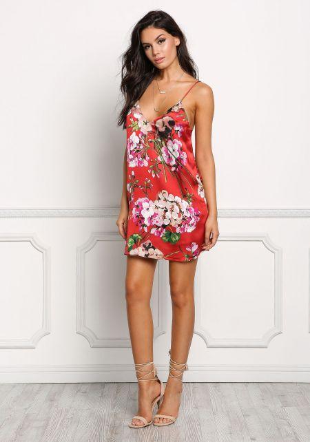 Wine Silky Floral Slip Dress