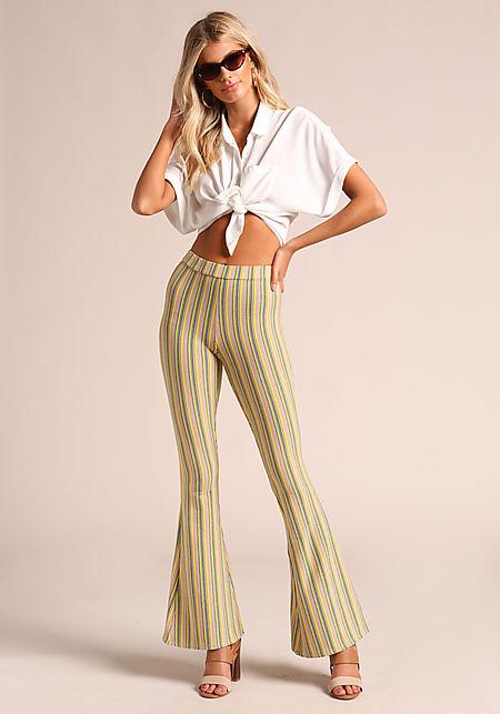 Yellow Stripe Bell Bottom Pants
