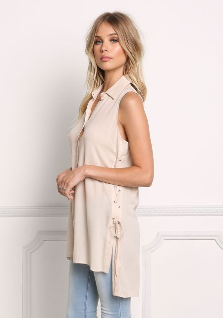 Nude Lace Up Collared Tank Top