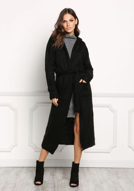 Black Longlined Hooded Thick Knit Cardigan