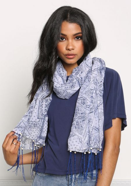 White Paisley Beaded Fringe Scarf