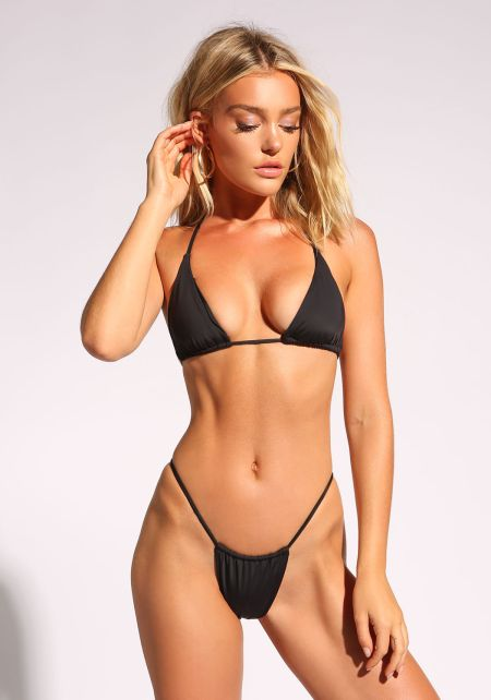 Black Triangle Low Rise Swimsuit Bikini Bottoms