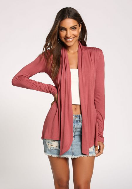 Mauve Open Front Knit Cardigan
