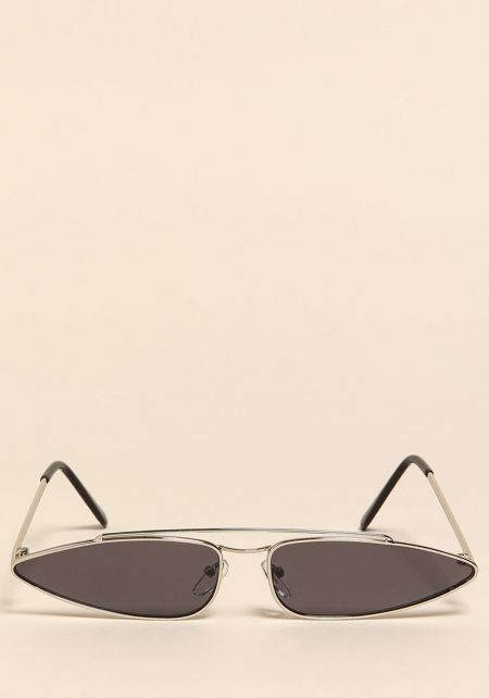 Silver Retro Skinny Sunglasses