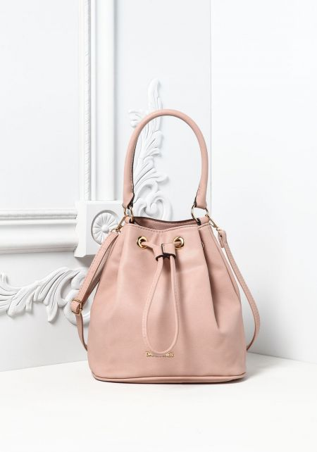 Pink Leatherette Mini Bucket Bag