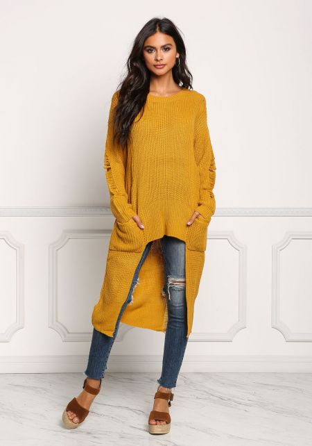Mustard Frayed Hi-Lo Sweater Top
