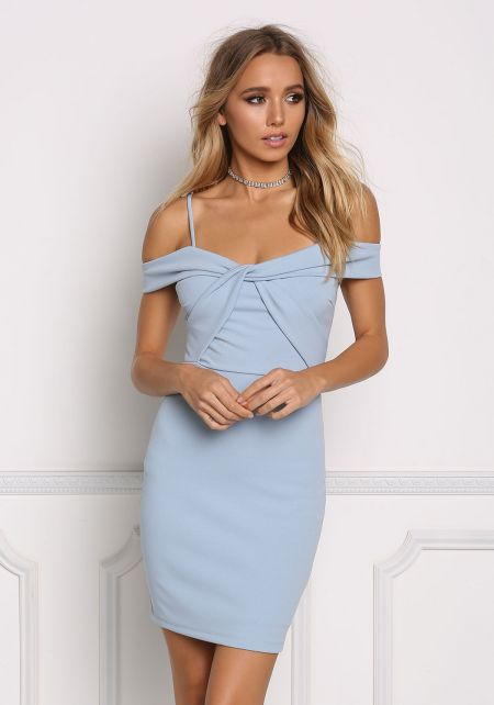 Light Blue Cold Shoulder Twisted Bodycon Dress