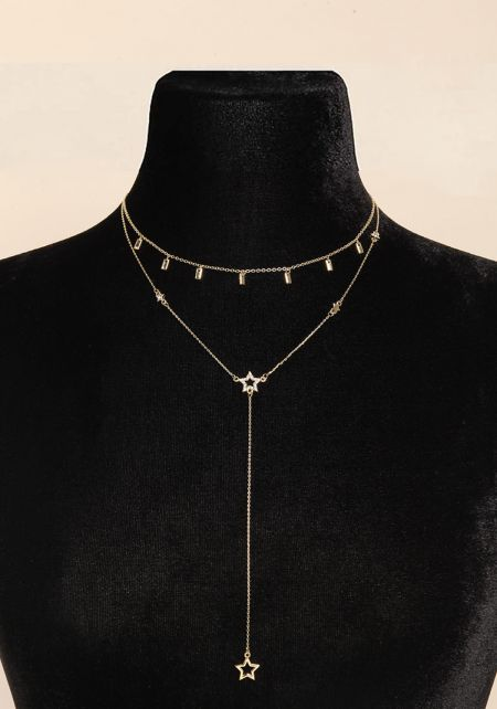 Gold Star Drop Chain Delicate Necklace