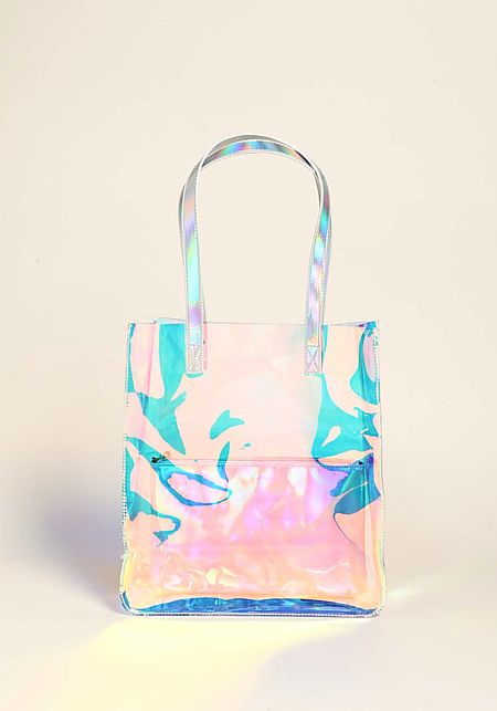 Silver Clear Iridescent Large Tote Bag