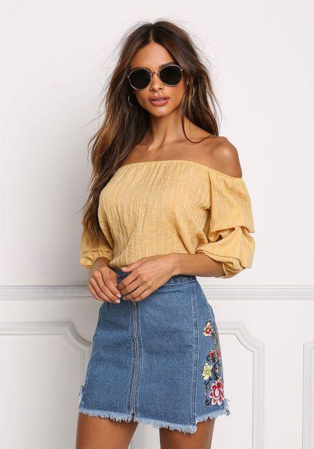 Denim Side Rose Embroidery Zipper Skirt