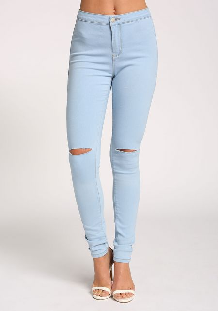 Light Blue Knee Slit High Rise Jeans