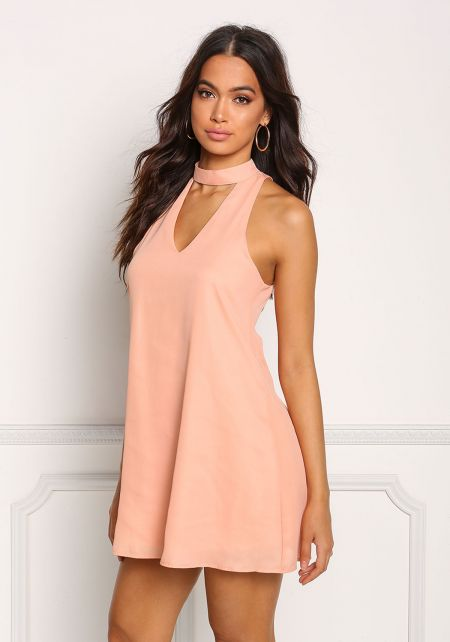 Peach Choker Cut Out Shift Dress