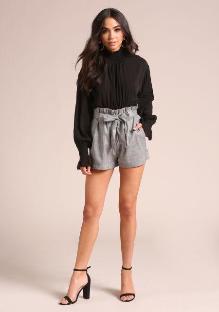 Grey Glen Plaid Paperbag Shorts