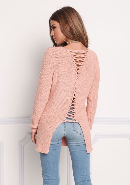 Blush Back Lace Up Thick Knit Sweater Top
