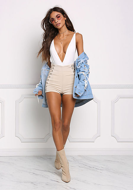 Beige Side Lace Up High Rise Shorts