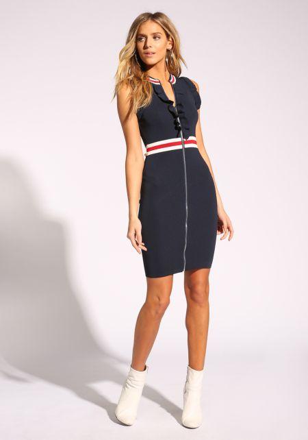 Navy Stripe Ruffle Zipper Bodycon Dress
