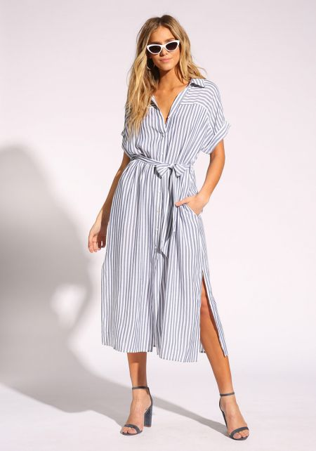 White and Navy Pinstripe Waist Tie Midi Dress