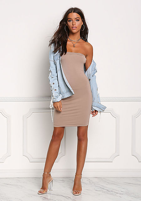 Taupe Strapless Jersey Knit Bodycon Dress