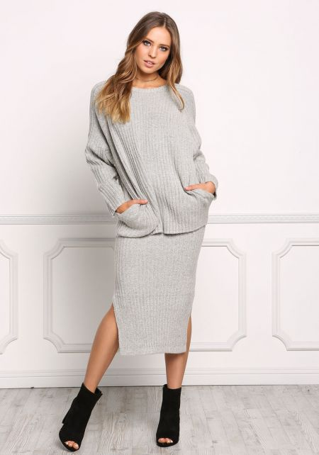 Heather Grey Chunky Ribbed Knit Pullover Sweater T
