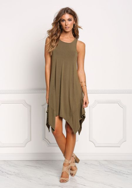 Olive Jersey Knit Pointed Shift Dress